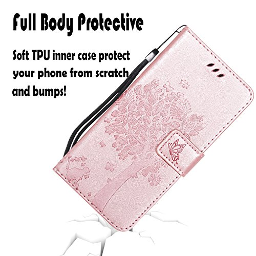NOMO Galaxy S10 Case,Samsung S10 Wallet Case,Galaxy S10 Flip Case PU Leather Emboss Tree Cat Flowers Folio Magnetic Kickstand Cover with Card Slots for Samsung Galaxy S10 Rose Gold by NOMO (Image #1)