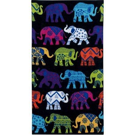 Elephants Black Printed Beach Towel, 34'' x 64''
