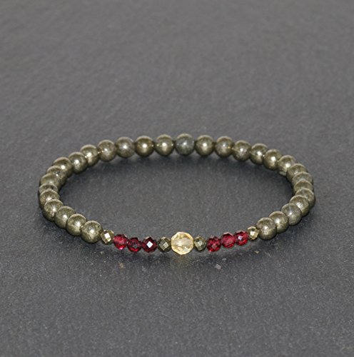 3mm Faceted & 4mm Round Pyrite, 3mm Faceted Brazilian Garnet and 4mm Faceted Citrine Beaded Gemstone Bracelet Unisex Moneymaker Bracelet