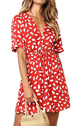 Angashion Women's Dresses - Button Deep V Neck Floral Printed Short Sleeve Drawstring Tie Waist Mini Dress Red - Dress Tie Waist