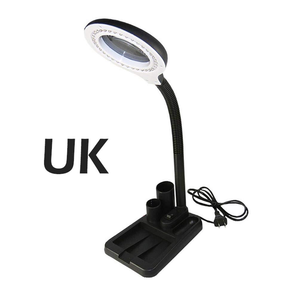 Desktop LED Magnifier Lamp Light 5X 10X Zoom Magnifying Table Loupe Glass Lens