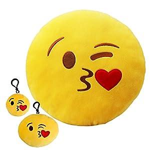 amazon com kiss emoji pillow set of 3 13 yellow round cushion