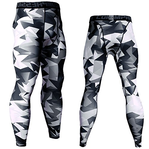 Zoilmxmen Mens Geometric Patterns Compression Tight Athletic Workout Sweatpants Lycra Elastic Joggers Pants