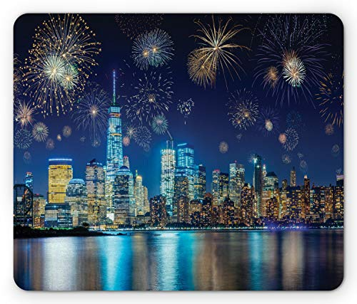 Ambesonne NYC Scene Mouse Pad, Image of Nighttime Celebration During New Years Eve Fireworks, Rectangle Non-Slip Rubber Mousepad, Standard Size, Multicolor