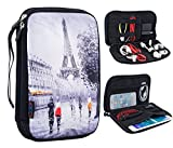 "great cool office interior ideas iColor Eiffel Tower Double Layer Universal Electronic Accessories Bag Gear Storage Travel Cable Organizer for Cord, USB Flash Drive, Earphone and more, Fit for Tablet (up to 7"") DOB-01"