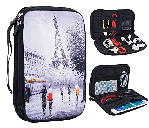 "iColor Eiffel Tower Double Layer Universal Electronic Accessories Bag Gear Storage Travel Cable Organizer for Cord, USB Flash Drive, Earphone and more, Fit for Tablet (up to 7"") DOB-01"