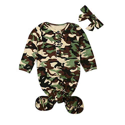 Newborn Boy Girl Coming Home Outfit Striped Sleep Sacks Gowns Swaddle +Cap