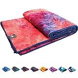 Sumi Eco Extra Thick and Super Soft Microfiber Yoga Towel - Sweat Absorbent, Non-Slip, Hot Yoga, Pilates (Mat Towel - Mix Orange Red | Edge Purplish Blue Stitch, Mat Towel - Size 72' x 24')