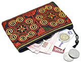 Sabai Jai Coin Purse Handmade Embroidered Bag Ethnic Boho Zipper Change Pouch,Small,Red/Orange