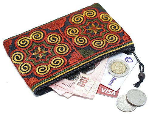 Embroidered Coin Purse - Sabai Jai Coin Purse Handmade Embroidered Bag Ethnic Boho Zipper Change Pouch,Small,Red/Orange