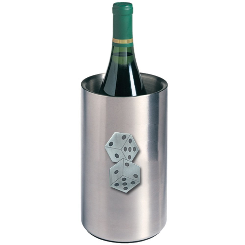 DICE WINE CHILLER (CASINO, CRAPS GAME), This is a wine chiller made of double-wall insulated stainless steel with a fine pewter logo medallion bonded to the front.
