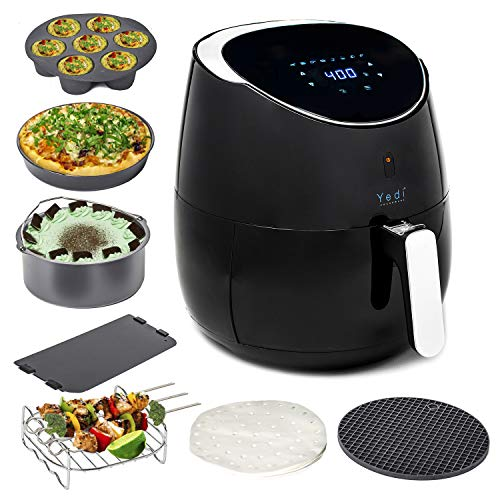 Yedi Total Package Air Fryer XL, Healthy Ceramic Coated Cooking Basket and Ceramic Coated Deluxe Accessory Kit, 100 Recipes, 2 Year Warranty, 5.8 Quart