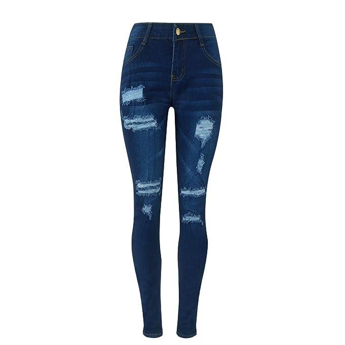 Gusspower Rotos Pantalones Cintura Alta Delgado Fit Flaco Pantalones Vaqueros Ocio Estilo Jeans: Amazon.es: Ropa y accesorios