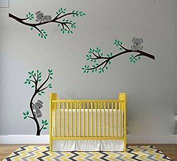 LUCKKYY Cute Three Koalas on The Tree Branches Wall Decal Wall Sticker Baby Nursery Decor Kids Room. Grey