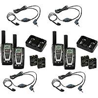 2 PAIR COBRA CXR725 22 Channel FRS/GMRS Walkie Talkie 2-Way Radios + 4 Headsets