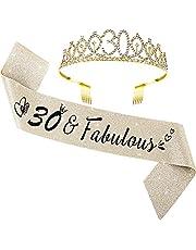30th Birthday Sash and Tiara Set 30 and Fabulous Satin Sash Gold Glitter Birthday Rhinestone Tiara Crown for 30th Party Supplies Favors Decorations