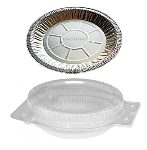 9'' Aluminum Foil Pie Pan Plate Tin 1'' Deep w/Clear Plastic Clamshell 50 Sets by Osislon Series