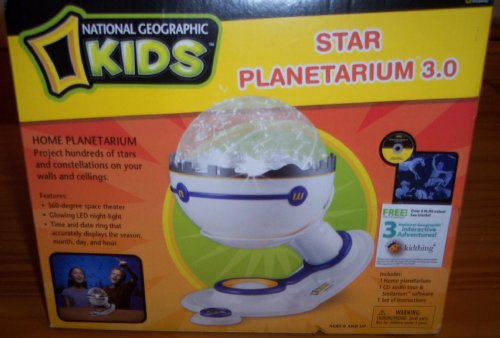 Star Planetarium 3.0 -- Home Planetarium Projects Hundreds of Stars and Constellations on Your Walls and Ceilings -- National Geographic Kids -- Features 360 degree space theater, glowing LED night light, time and date ring that accurately displays the season, month, day, and hour (Star Theater Planetarium Home)