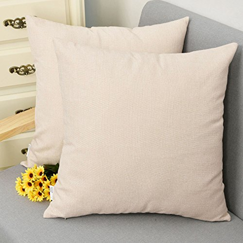 Natus Weaver Woven Fine Faux Linen Throw Cushion Case Pillow Cover With Invisible Zipper For small Sleep, 18 x 18 - inch, Light Linen, 2 Pieces ()
