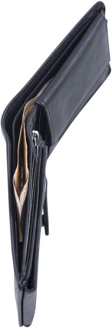 Cartera pequeña para señores Monedero para señoras LEAS, Piel auténtica, Negro - LEAS Mini-Edition