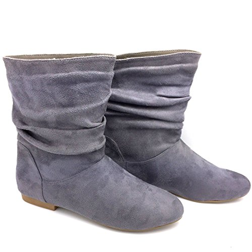 Womens Ladies Faux Suede Fashion Pixie Ankle Boots Flats Shoes UK Size 3-9 FB490 Grey RxIr9izl