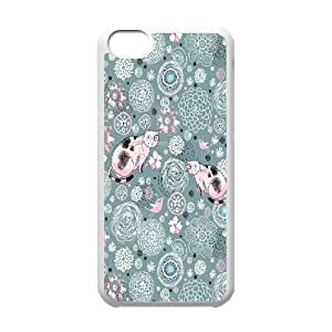 Case for IPhone 5C, Kitten Pattern Case for IPhone 5C, Evekiss White