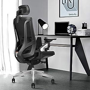 Chaise de Bureau Ergonomique à Dossier Haut Respirant avec Limiteur d'inclinaison | Accoudoirs 4D Réglables | l'appui…