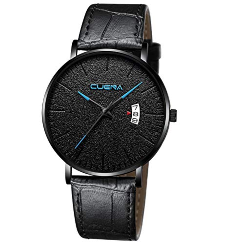 Men's Ultra-Thin Quartz Analog Date Wrist Watch with Black Leather Strap,MmNote(B) ()