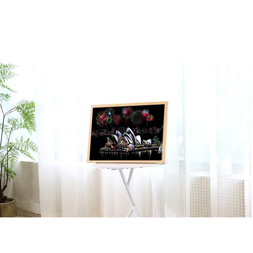 GJQDDP Scratch Art, Papel De Dibujo Suelto, Descompresión, Rasguño, Rasguño, Rasguño, Escena Nocturna, Colorido, Pintado A Mano, Creativo, Regalo De Cumpleaños,Wood 27dfda