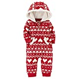Carter's Baby Girls' One Piece Heart Print Fleece Jumpsuit 6 Months