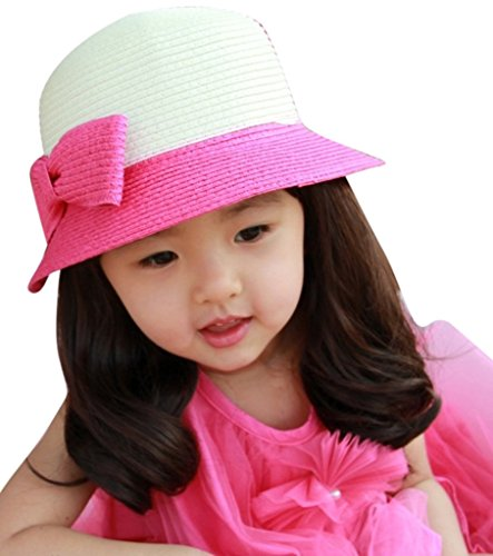AM CLOTHES Little girl Cute Bowknot Candy Color Straw Sun Hat White-Rosered