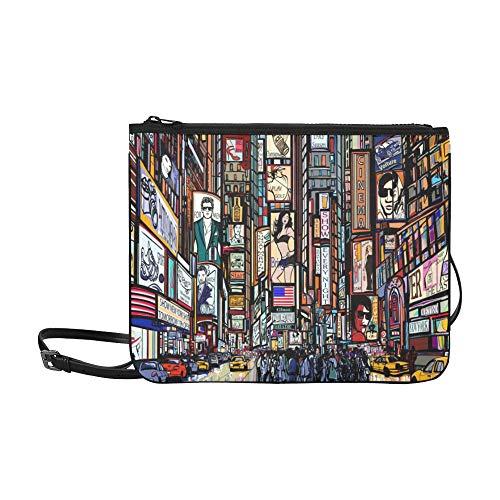 Illustration Of A Street In New York City Times Pattern Custom High-grade Nylon Slim Clutch Bag Cross-body Bag Shoulder Bag (Macys In New York City)