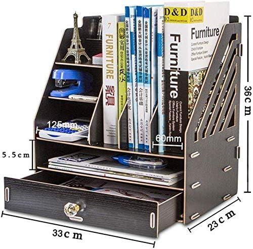 Soul hill Schwarz Schreibtisch aus Holz Organizer, Multi-Funktions-Desktop-Organisieren