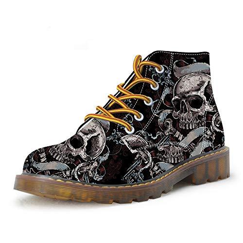 FIRST DANCE Shoes Mens Skull Boots Martins Skull Shoes for Men Skeleton Print Black Ankle Men Black Shoes US8.5
