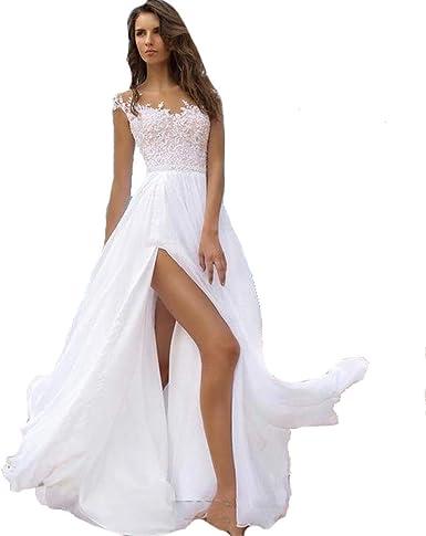 Siqinzheng A Line Chiffon Formal Evening Dresses Long White Beach Dress At Amazon Women S Clothing Store