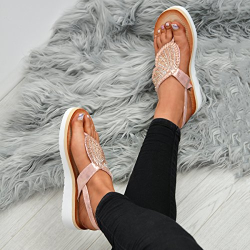 Fashion Studded Sandals Diamante Champagne Cucu Ladies Size Womens Platform Slingback Shoes Flats Zeppa dqna6H