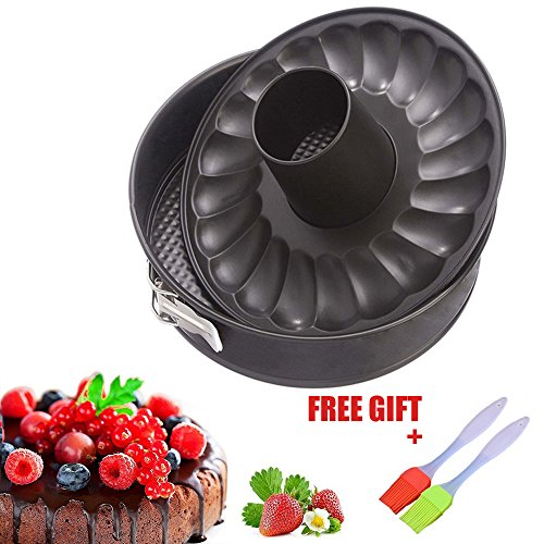 7 inch Springform Cake Pan Non stick Baking Bundt Pans for Instant Pot 5,6,8 Qt with 2 Removable Bottom and Silicone Brush Leakproof Cheesecake Bakeware