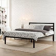 Zinus Modern Studio 14 Inch Platform 1500H Metal Bed Frame / Mattress Foundation / Wooden Slat Support / with Headboard, Twin
