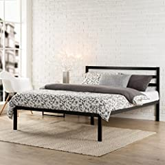 The steel framed Mia Modern Studio Platform Bed 1500 with Headboard by Zinus features wooden slats that provide strong support for your memory foam, latex, or spring mattress. 14 inches high with 12 inches of clearance under the frame for ple...
