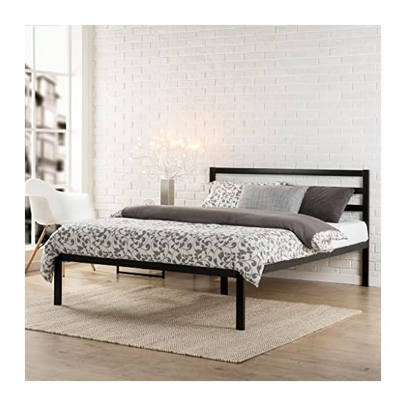Zinus Mia Modern Studio 14 Inch Platform 1500H Metal Bed Frame With Headboard, Full - Strong mattress support with 10 wood slats prevents sagging and increases mattress life Assembles easily in minutes; Total Weight Capacity (pound.) : 800 Headboard and frame combine for stylish mattress support, 5 year worry free limited warranty - bedroom-furniture, bedroom, bed-frames - 51jSro9EwKL. SS570  -