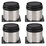 Ogrmar Furniture Table Stainless Steel Adjustable Legs Home Kitchen Feet Round Shape 2''x2'' (Set of 4)