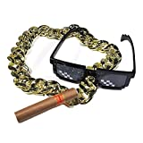 PAUBOLI Meme Thug Life Cosplay 8-Bit Pixelated Sunglasses + Fake Golden Chain and Cigar a Set Minecraft Costumes