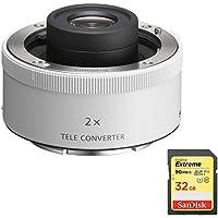 Sony SEL20TC FE 2.0X Teleconverter Lens with Sandisk 32GB Extreme SDXC UHS-I Memory Card