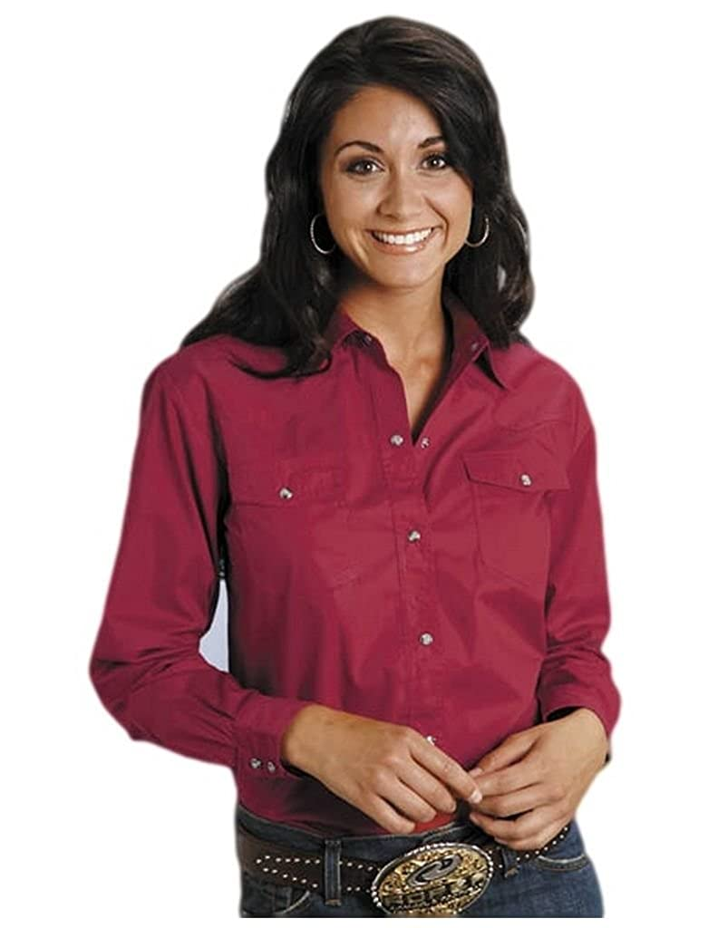 c1688488b Roper Women's Solid Poplin L/S Shirt Red Button-up Shirt 1X at Amazon  Women's Clothing store: Athletic Sweaters