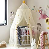 HIFUAR Mosquito Net Bed Canopy Yarn Play Tent Bedding for Kids Playing Reading with Children Lace Netting Curtains Boys and Girls Games House(Light Yellow)