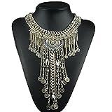 Women Tassels Chain Necklaces Pendants Statement Necklace Boho Bohemian Festival Gypsy Jewelry (Silver-7)