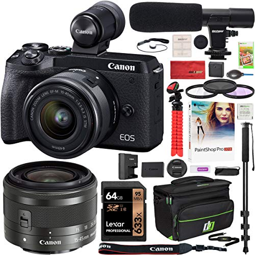 Canon EOS M6 Mark II 2 Mirrorless Digital Camera with 15-45mm f/3.5-6.3 is STM Lens and EVF Kit Black 3611C011 Bundle with Deco Gear Case + Microphone + Monopod + Filter Set + 64GB Memory Card
