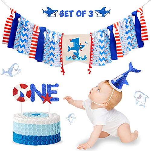 Vansolinne Shark Theme 1st Birthday Decorations Kit for Baby Boy Shark Party Highchair Banner Hat ONE Cake Topper Cake Smash Milestone Photo Prop Supplies 3-in-1