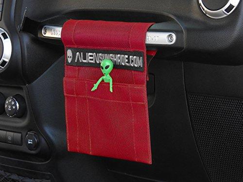 ALIEN SUNSHADE Jeep Wrangler TrailPouch Multi-Purpose Mesh Storage Pouch Organizer with 10 Year Warranty (Cherry Red)