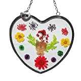 Stained Glass Suncatcher For Windows hangings Mom Heart Mother Suncatcher with Pressed Flower Wings - Heart Suncatcher - Mom Gifts Gift for Mother's Day (4.754.75)